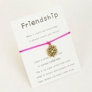 Jewelry - FRIENDSHIP Snowflake Pink Rope Bracelet & Card